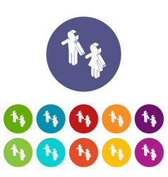 female and male to market icons set color vector image