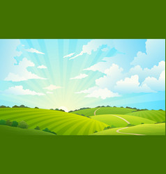 fields landscape scenic green hills nature sky vector image