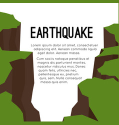 Flat card with earthquake and space for vector