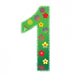 Floral number 1 vector