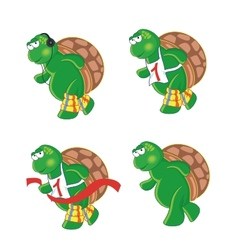 Four cartoon turtles vector