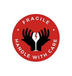 Fragile handle with care hand glass sticker logo vector