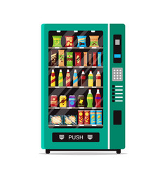 full vending machine with fast food snacks and vector image
