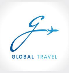 G fly travel company logo concept vector