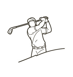 Golf player golfer action cartoon sport graphic vector