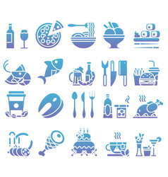 gradient set of flat icons and elements vector image