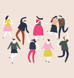 Group young happy dancing people vector