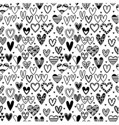 Hand drawn seamless pattern with hearts wedding vector