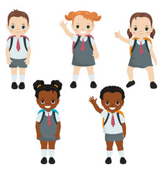 happy school kids happy school kids vector image