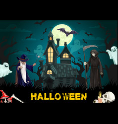 Haunted house with halloween ghosts wizard bats vector