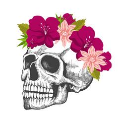 Human skull sketch with floral wreath isolated on vector