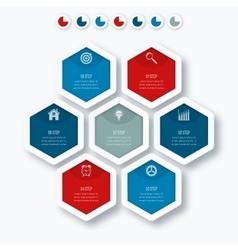 Infographics seven hexagons vector