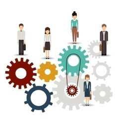 Isolated gear and businesspeople design vector