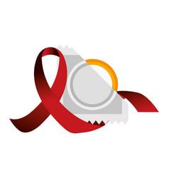 Isolated hiv ribbon and condom design vector