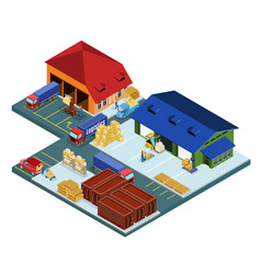 Isometric warehouse area concept vector
