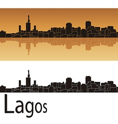Lagos skyline in orange background vector