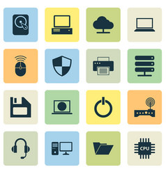 Laptop icons set collection of monitor tree vector