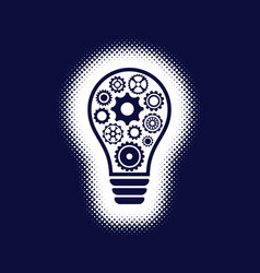 light bulb icon with gear wheels vector image