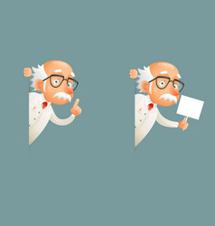 look out corner old wise scientist character icons vector image