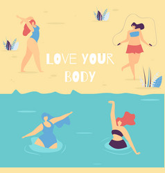 love your body motivational woman vector image
