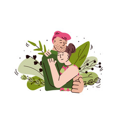 Loving couple hugging and embracing cartoon vector
