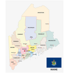 maine administrative and political map with flag vector image