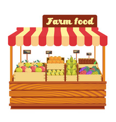 Market wood stand with farm food and vegetables in vector