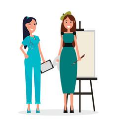 Medical adviser in blue uniform and woman artist vector