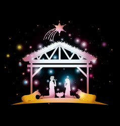 Merry christmas card with holy family in stable vector