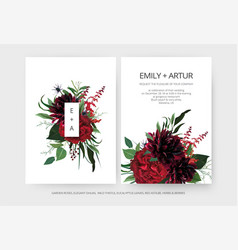 Modern minimalist wedding invite card red roses vector