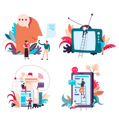 news and information broadcasting via devices and vector image