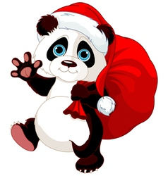 Panda with a sack full of gifts vector
