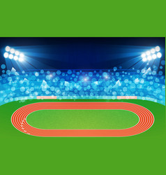 Running track arena field with bright stadium vector