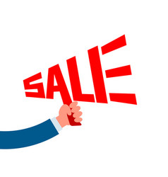 sale lettering hand holding megaphone vector image