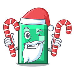 Santa with candy rectangle mascot cartoon style vector
