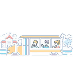 school bus - modern colorful line design style vector image