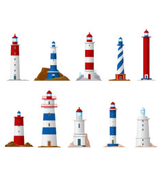 Sea lighthouse icons nautical navigation vector