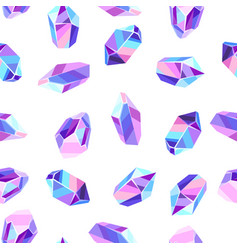 seamless pattern with crystals and minerals vector image