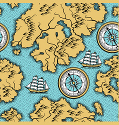 Seamless pattern with old nautical map vector