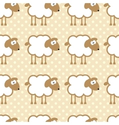 Seamless pattern with sheep on warm dotted vector image