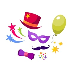 Set colorful objects of carnival vector