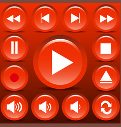 set matt orange media buttons vector image