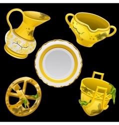 Set of ancient antique Golden tableware vector image