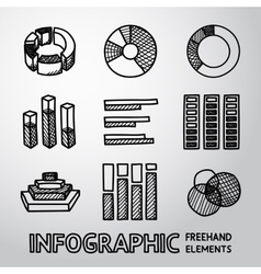 Set of hand drawn infographic elements - pie vector image
