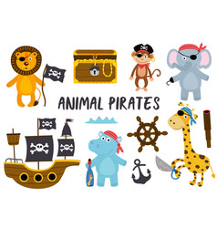 Set of isolated animals pirates and other elements vector