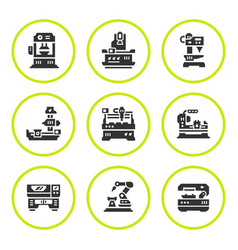 Set round icons of machine tool vector