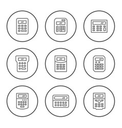 set round line icons calculator vector image