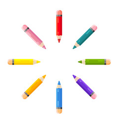 Short colored pencils lie on a white background vector