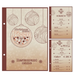 Special Christmas Restaurant menu for pizza vector image