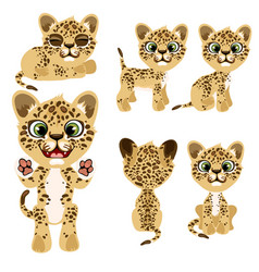 Spotted tiger cub in different poses and mood vector